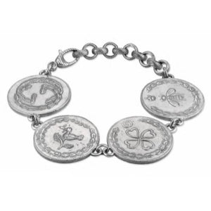 GUCCI SILVER LARGE COIN CHARMS BRACELET