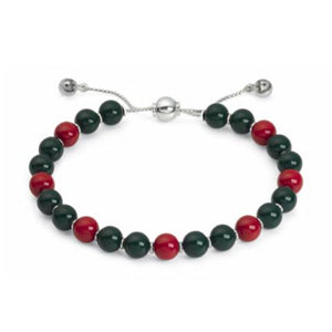 GUCCI SILVER MULTICOLOR WOOD BEAD BRACELET