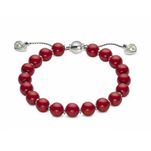 GUCCI SILVER RED WOOD BEAD BRACELET