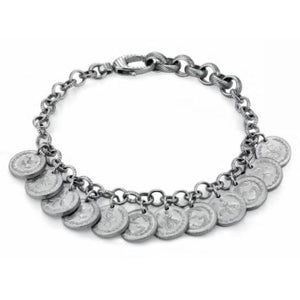GUCCI SILVER SMALL COIN CHARMS BRACELET