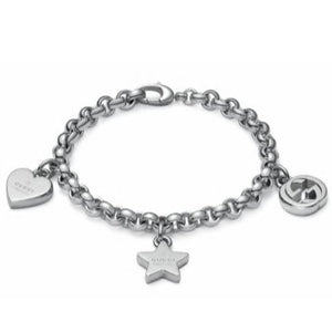 GUCCI SILVER TRADEMARK CHARM BRACELET