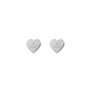GUCCI SILVER TRADEMARK HEART EARRINGS