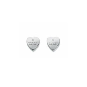 GUCCI SILVER TRADEMARK NARROW HEART EARRINGS