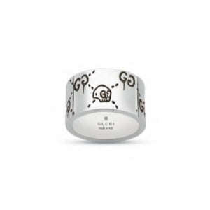 GUCCI GHOST WIDE SILVER RING