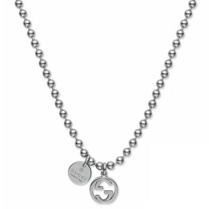 SILVER INTERLOCKING G BOULE NECKLACE