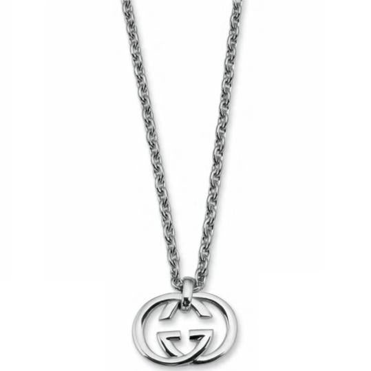 SILVER INTERLOCKING G WITH THIN CHAIN NECKLACE
