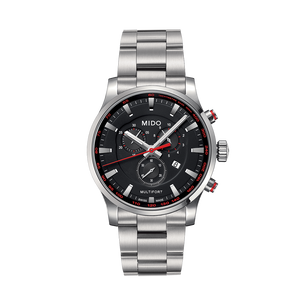 STEEL MULTIFORT QUARTZ BLACK FACE - XSJewelers