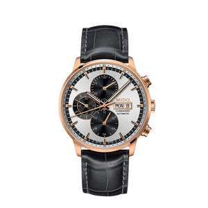 LEATHER COMMANDER AUTO CHRONO SILVER ROSE - XSJewelers