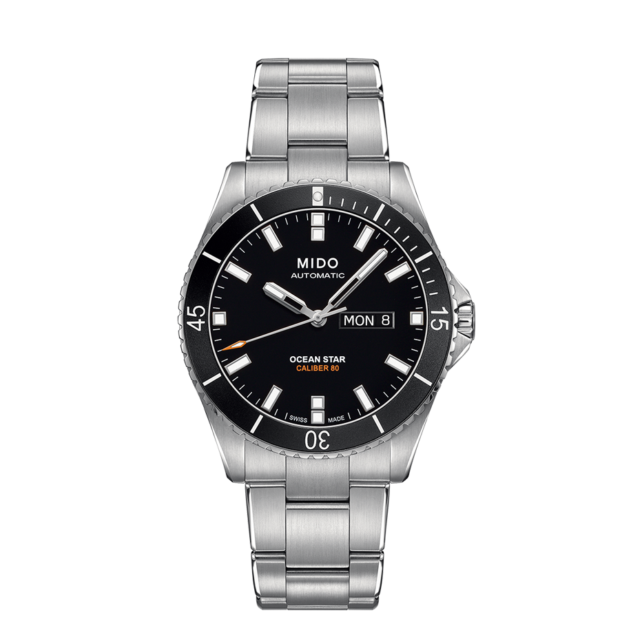 STEEL OCEAN STAR AUTO BLACK FACE - XSJewelers