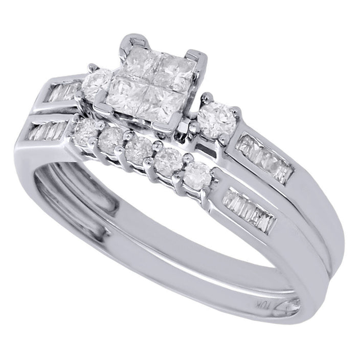 PRINCESSA BRIDAL SET WITH ROUND AND BAGUETTE BAND: HALF CARAT - XSJewelers