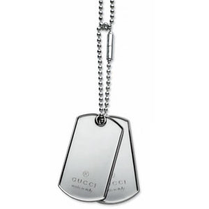 SILVER GUCCI DOG TAGS CHAIN