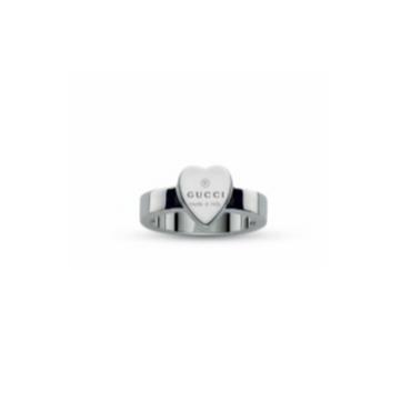 GUCCI SILVER TRADEMARK HEART RING