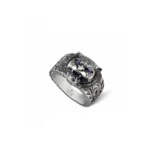 GUCCI SILVER FELINE PURPLE ZIRCONIA RING