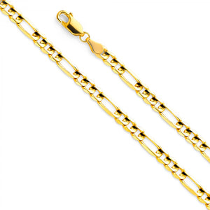 HOLLOW 14KT YELLOW GOLD FIGARO CHAIN