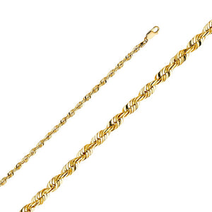 HOLLOW 14KT YELLOW GOLD ROPE CHAIN