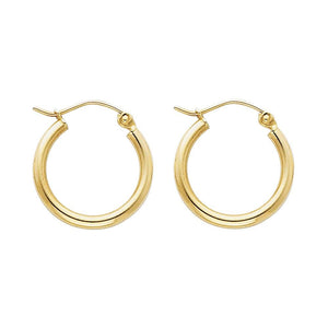 14KT GOLD 2MM HOOP SNAP-BACK EARRINGS 17mm