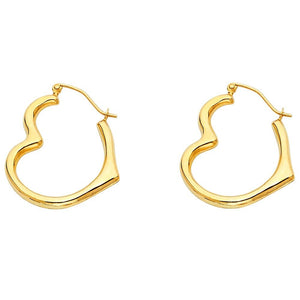 14KT YELLOW GOLD HEART HOOP EARRINGS