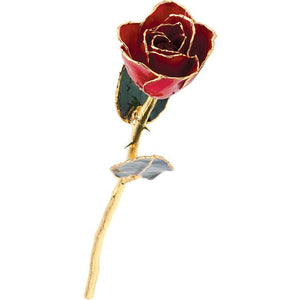 LAQUER DIPPED 24K GOLD TRIMMED RED ROSE