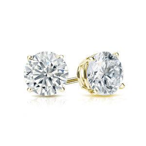 DIAMOND STUDS ON YELLOW GOLD, ONE CARAT