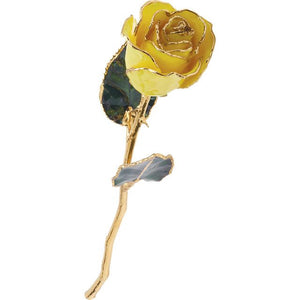 LAQUER DIPPED 24K GOLD TRIMMED YELLOW ROSE