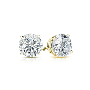 DIAMOND STUDS ON YELLOW GOLD, HALF CARAT