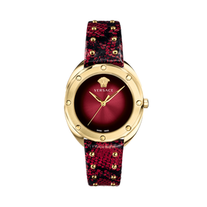 RED LEATHER SHADOV WATCH - XSJewelers