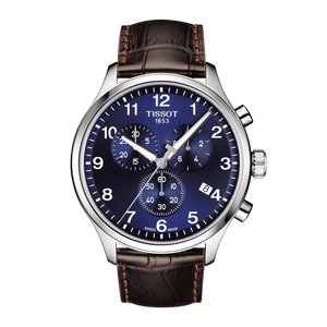 LEATHER CHRONO XL CLASSIC BLUE FACE - XSJewelers