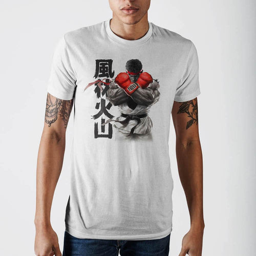 Street Fighter Ryu White T-Shirt - TeamByExample