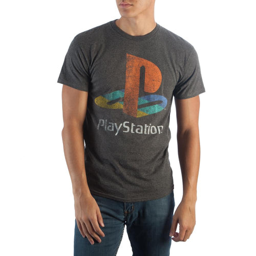 Sony Playstation Logo on Charcoal T-Shirt - TeamByExample