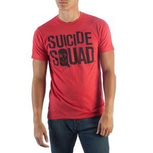 Suicide Squad Logo Red Heather T-Shirt - TeamByExample