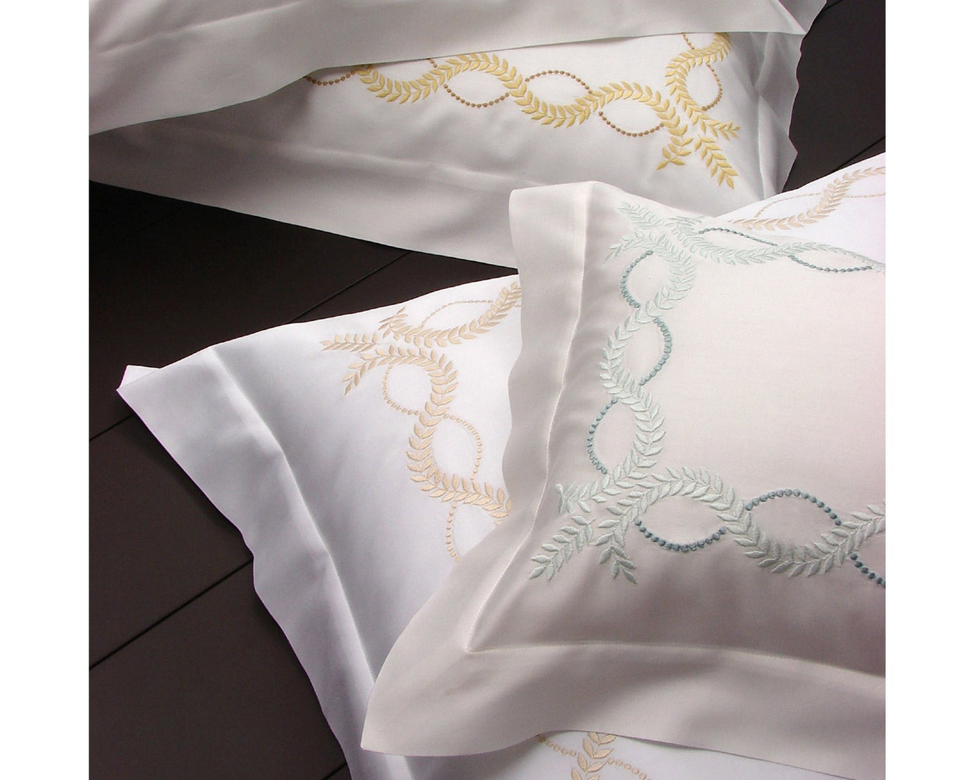 100% cotton Raso sateen with exquisite embroidery