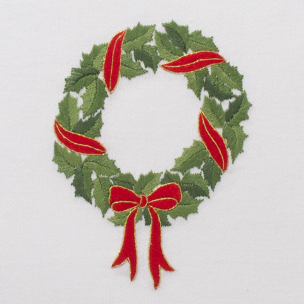 Holly Ribbon Wreath | Cocktail Napkins, Set of 4