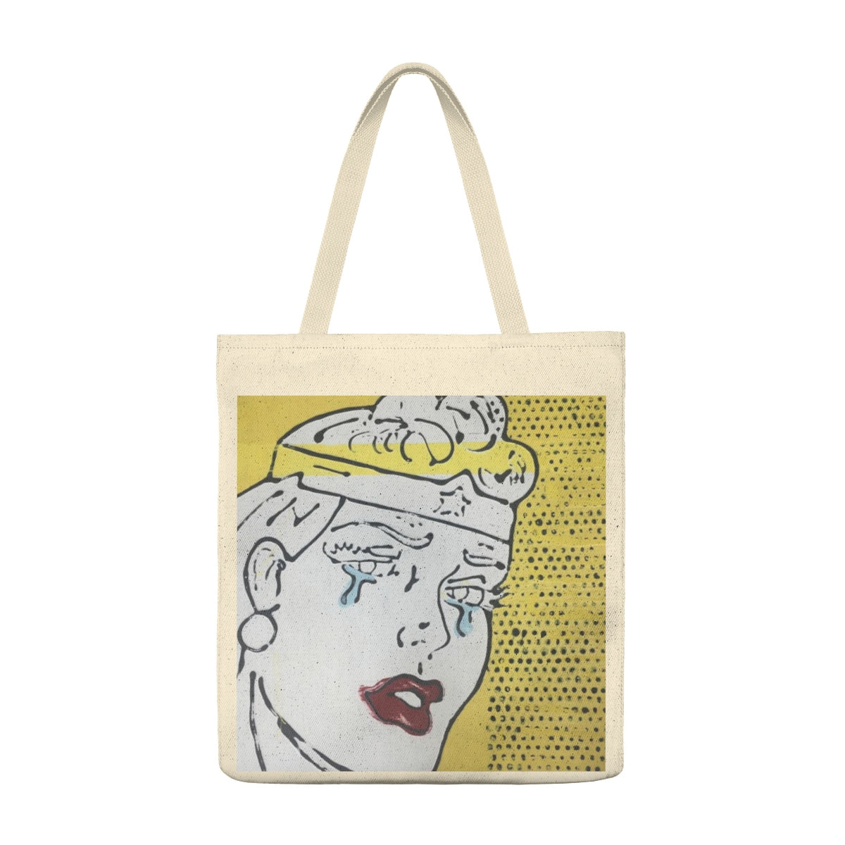 (Tears & Lipstick Yellow) Shoulder Tote Bag - Roomy