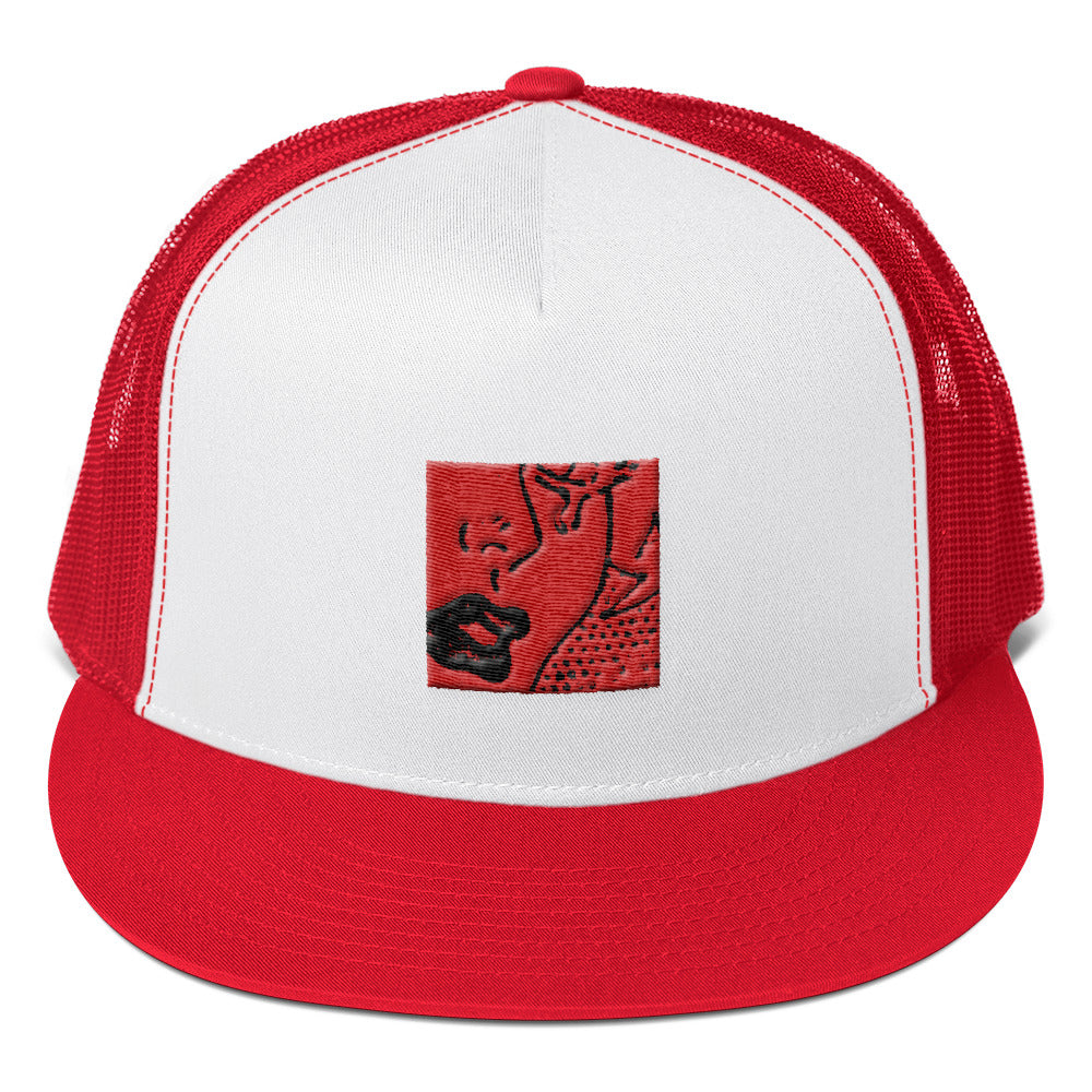 (Tears & Lipstick Red) Trucker Cap