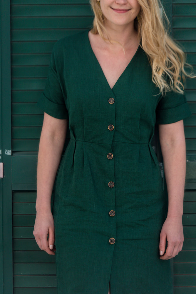 Bottle green linen summer short dress | Olá Lindeza