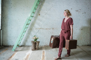MAXINE JUMPSUIT - BRICK RED LYOCELL