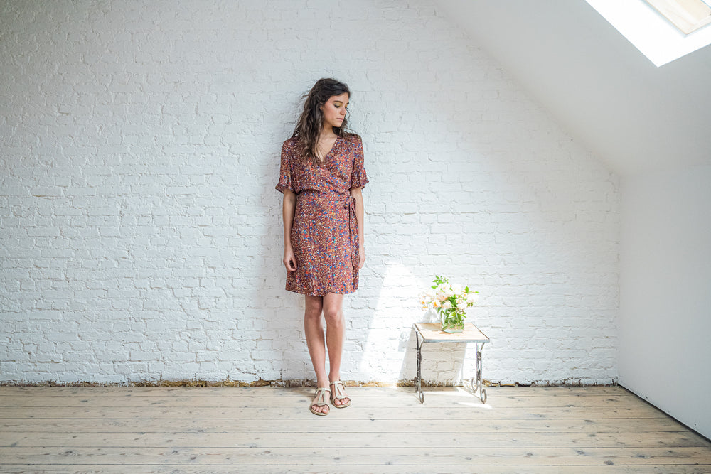 AUDE WRAP DRESS - BRICK RED LYOCELL (one left - a size S)