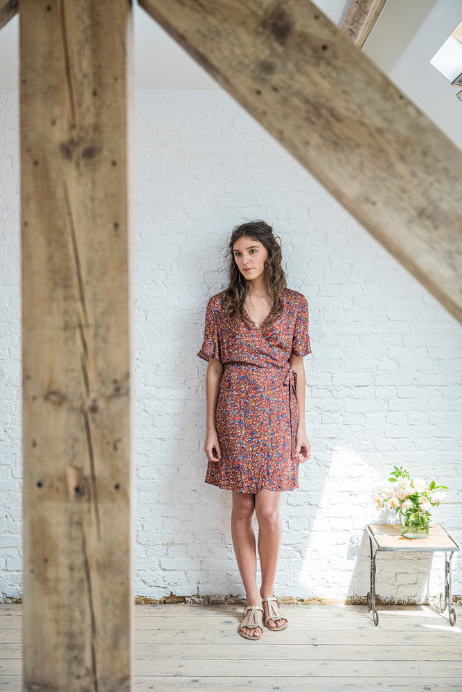AUDE WRAP DRESS - WILD FLOWERS