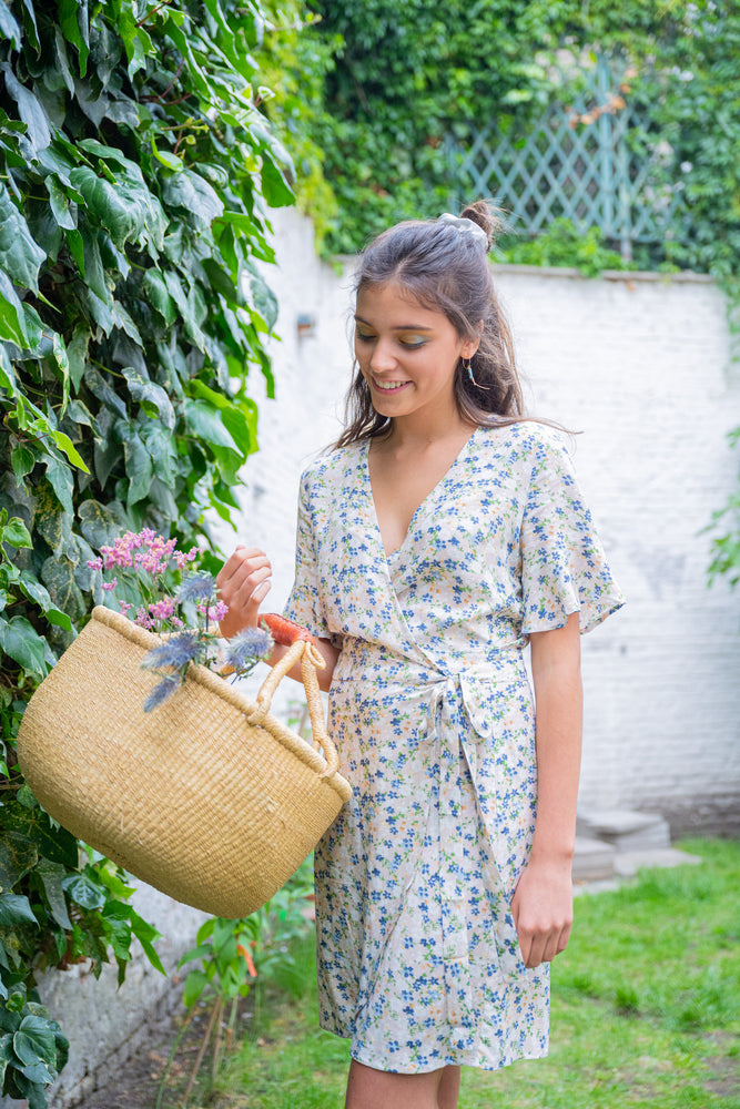 AUDE WRAP DRESS - FORGET-ME-NOT FLORALS