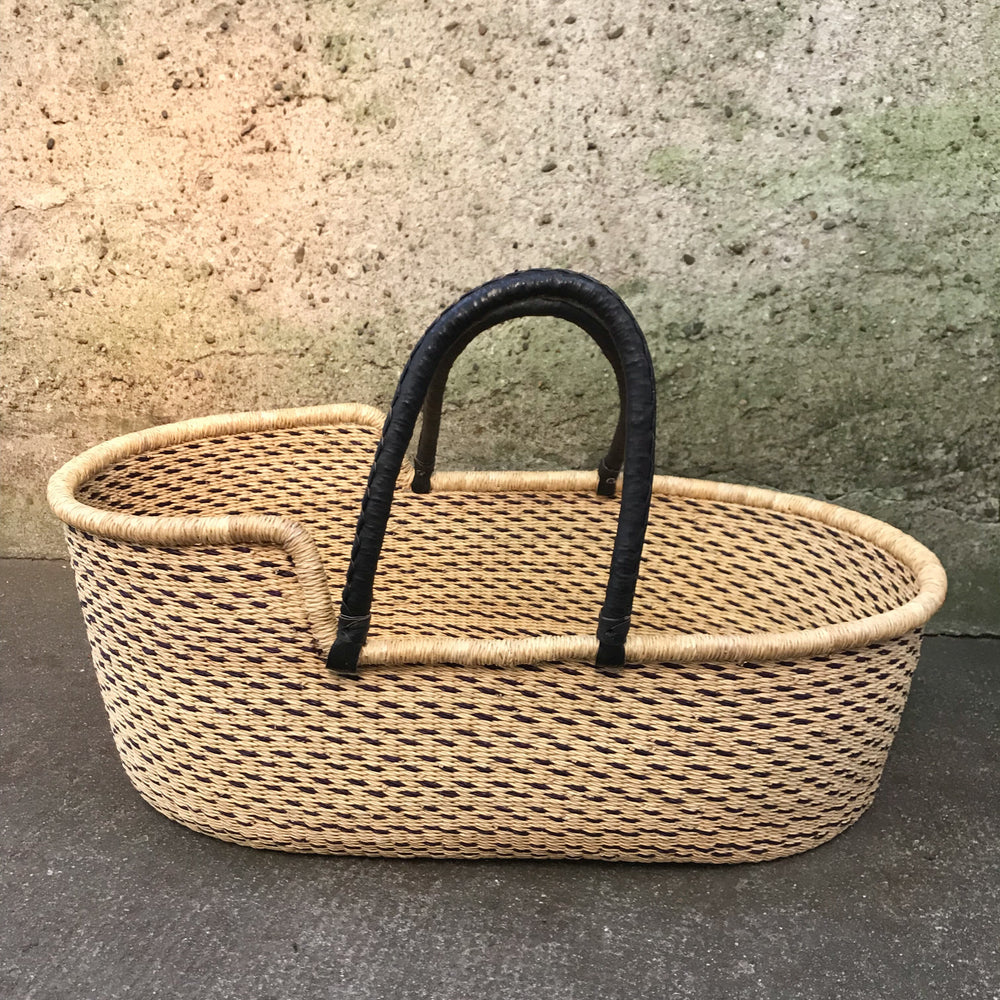 Dots Woven Baby Moses Basket (custom mattress included)