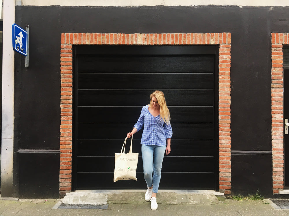 Blue checkered linen blouse | Olá Lindeza
