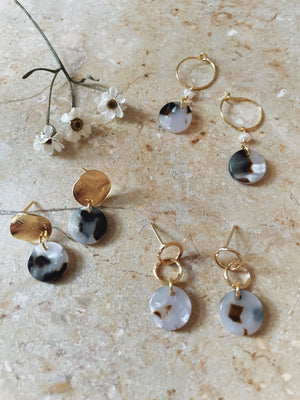 Ivory brown speckled globe ear studs
