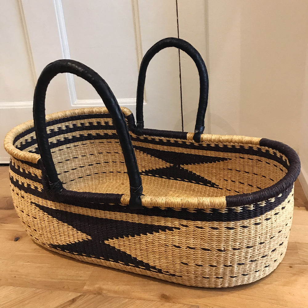 Echoed Woven Baby Moses Basket (custom mattress included)