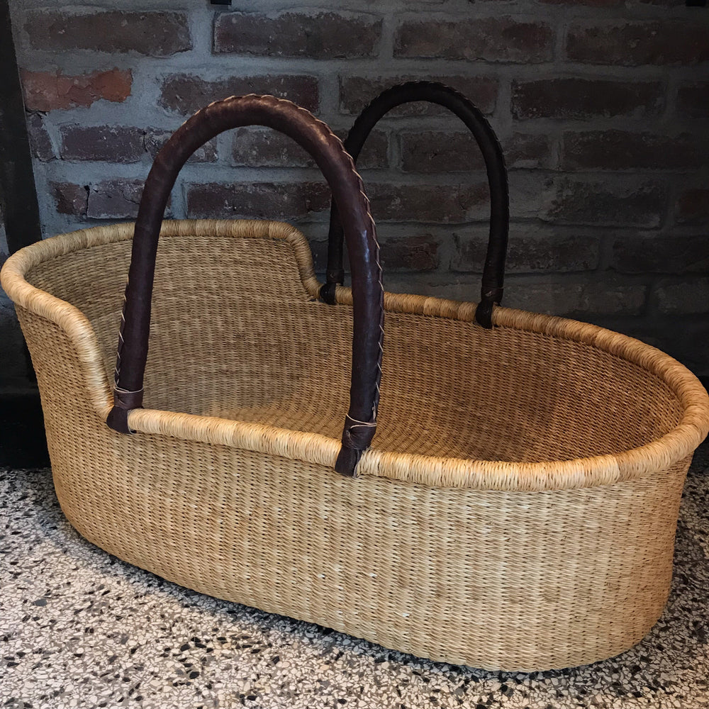 Natural Woven Baby Moses Basket (custom mattress included)
