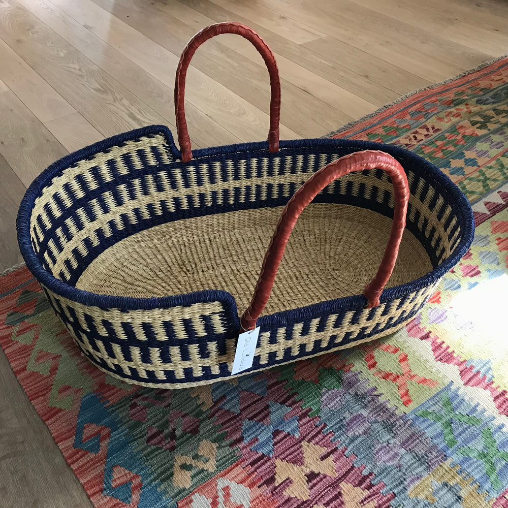 Marine Woven Baby Moses Basket