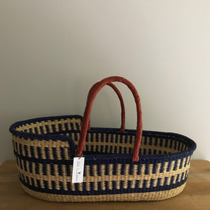 Blue Woven Baby Moses Basket