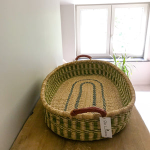 Green Woven Baby Changing Basket