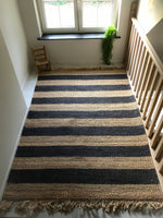 Ocean Breeze Hemp Rug with fringe in dark blue/natural tones (available in 2 different colors)