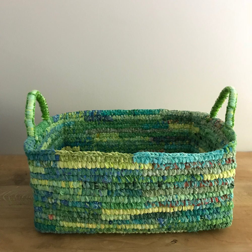 Malo up-cycled fabric basket (green tones)