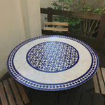 Ivory flowered mosaic tile table